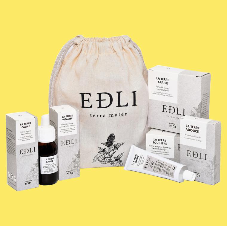 Trousse contenant des produits pour la digestion, la douleur, le stress, la fatigue, les maux de gorge, les bleus et les bosses