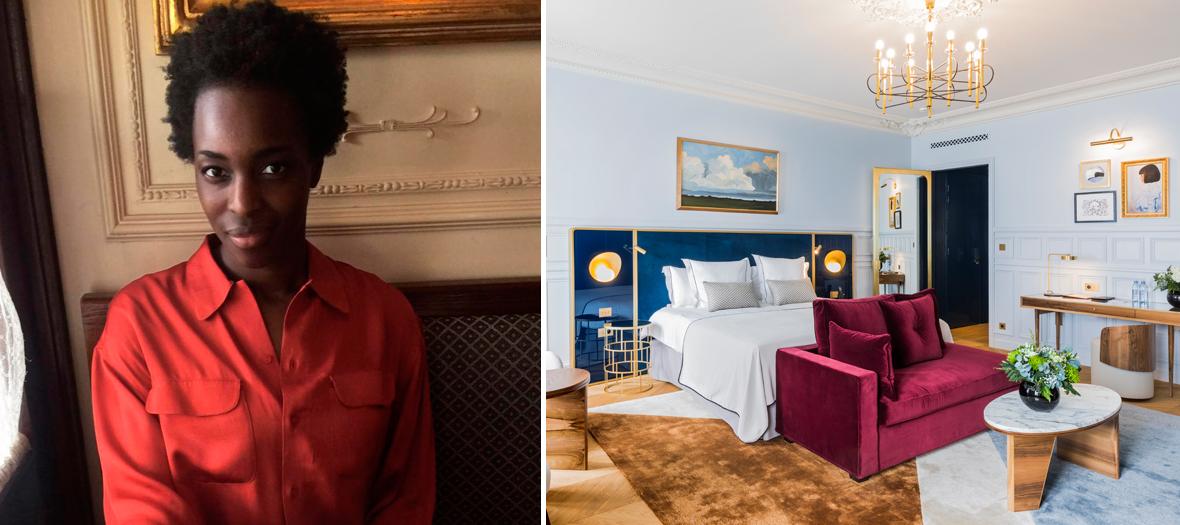 Portrait de la facialiste Sophie Carbonari et la chambre de l'hotel Grand Powers