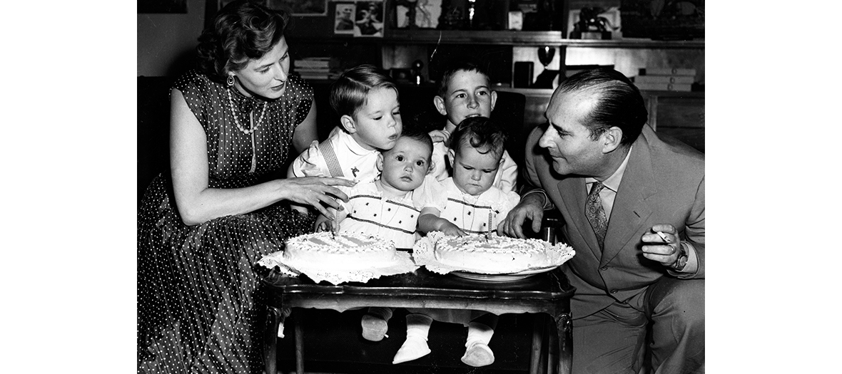 Photo de Ingrid Bergman et Roberto Rossellini et leurs enfants