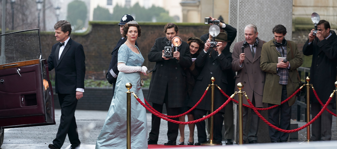 Les acteurs Olivia Colman, Helena Bonham Carter,Jason Watkins, Josh O'Connor da la serie The Crown de Peter Morgan