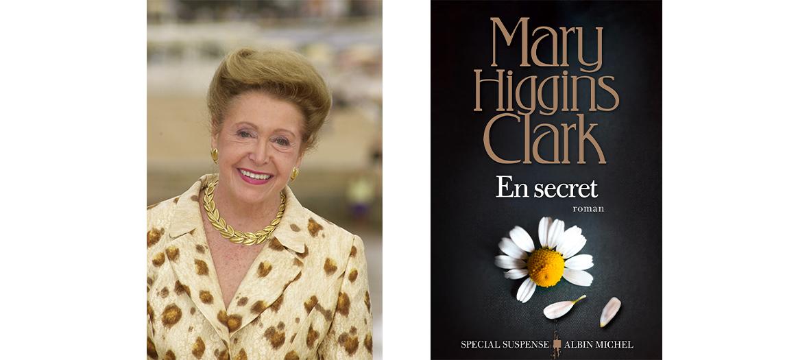 Portrait de Mary Higgins Clark et couverture de son roman En Secret