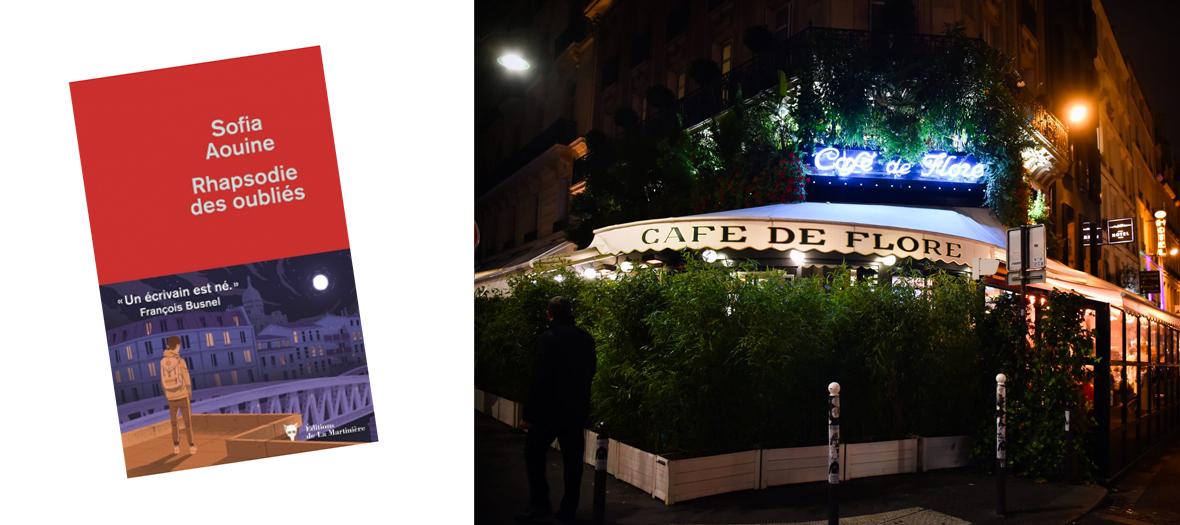 Couverture du livre Un ecrivain est né et Façade du Café Flore