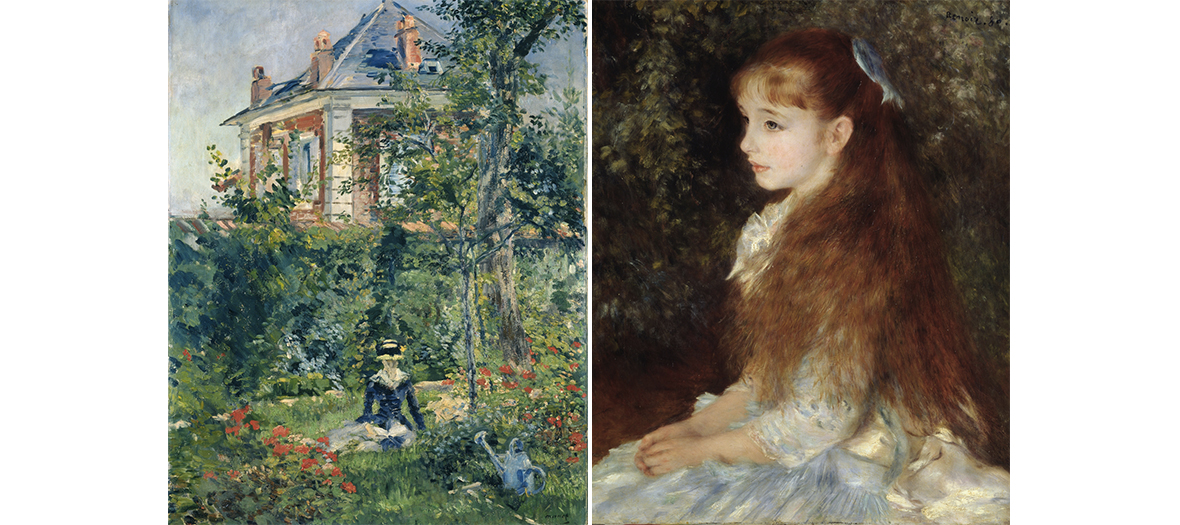 Painting Un coin du jardin de Bellevue with the Portrait de Mademoiselle Irène Cahen d'Anvers