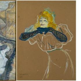 Peinture la toilette et Yvette Guilbert chantant de Toulouse Lautrec