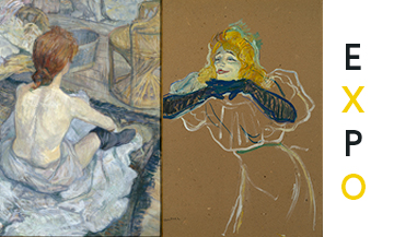 Painting la toilette et Yvette Guilbert chantant from the painter Toulouse Lautrec