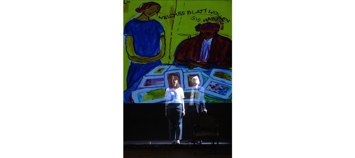 théâtre, peinture, musique, chant, bruitages et vidéos d'archives