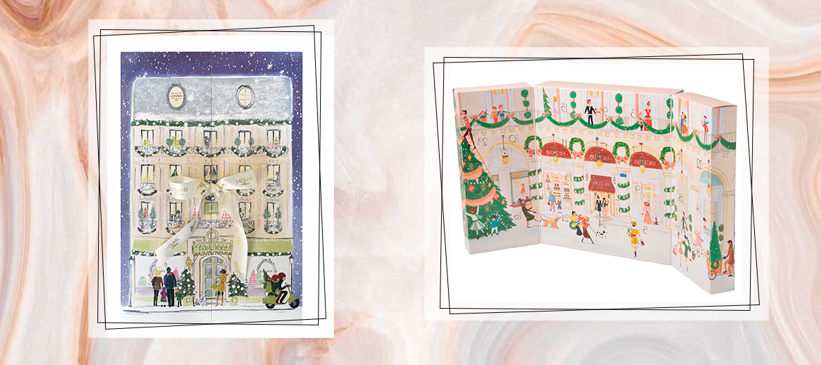 Laduree advent calendar the illustration of a Haussmannian building wrapped with a ribbon and that opens up on a pasty shops where are hidden 24 windows of yummy nougats, calissons and caramel candies and Angelina advent calendar lace crêpes, giandujas, black and white chocolate pralines and napolitains, almonds wrapped in milk chocolate, crispy pearls.