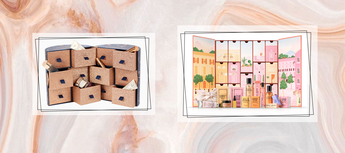 paul and joe bastide and charlotte tilbury advent calendar with Lipsticks, moisturizing creams, nail polishes, solid soaps and fanciful eaux de toilettes, cosmos blue and sequins galore, filled with iconic make-up products, from full size glittery eye shadow to a 3 in 1 face treatment