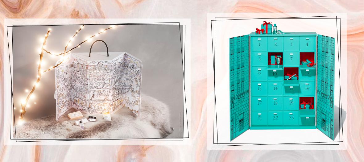 calendrier de l'avent dior de Vincent Darré avec bougies, savons, crèmes et autres surprises d'un raffinement absolu et calendrier Tiffany and co avec un stylo en argent, des boucles d'oreilles en diamant, un bracelet en or rose 18 carats