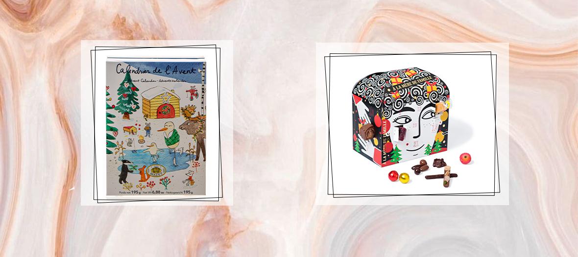 calendrier de l'avent Maison Mazet de l'illustratrice Marina Vandel et calendrier de l'avent de chez la mere de famille déssiné par Zeina Abirached avec Pralinés, amandes et noisettes au chocolat, mini calissons, caramels, roudoudous.