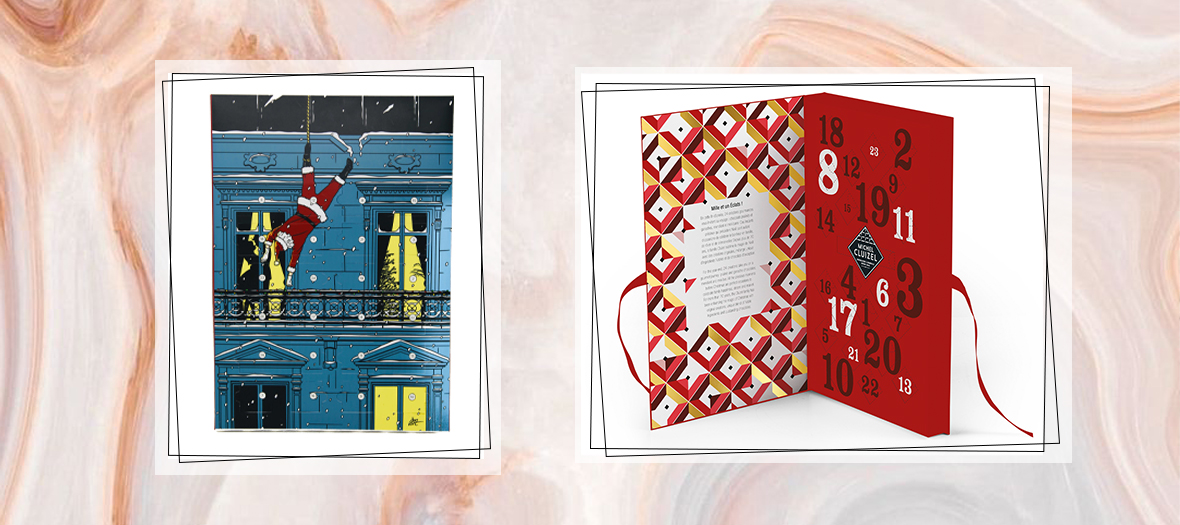 Maison Plisson advent calendar with praline balls, mendiants, crunchy tidbits, dry fries and Cluizel advent calendar with 24 slots of old-fashioned pralines, melt in the mouth ganaches from the best plantations, crunchy mendiant and mini- fruit bar.