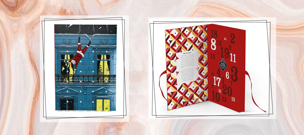 calendrier Maison Plisson avec des chocolats de chez mère de famille et Calendrier Manufacture Cluizel avec 24 cases de pralinés à l'ancienne, fondantes ganaches noir et lait issues des meilleures plantations, mendiant croquant et mini-barre fruitée.