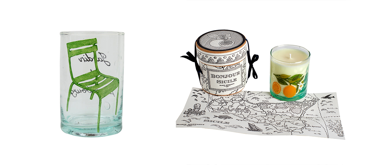 Small box with secrets to 115 €, the glass Chair of Luxembourg 100% handmade to 35), showcase wonders Love paper mache to 280 €, perfume candle Sicily to 68 € Marin Montagut at Bon Marché