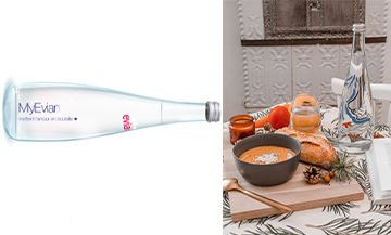 Evian bottle with engraved customizable messages and carrot water bread soup, tomato