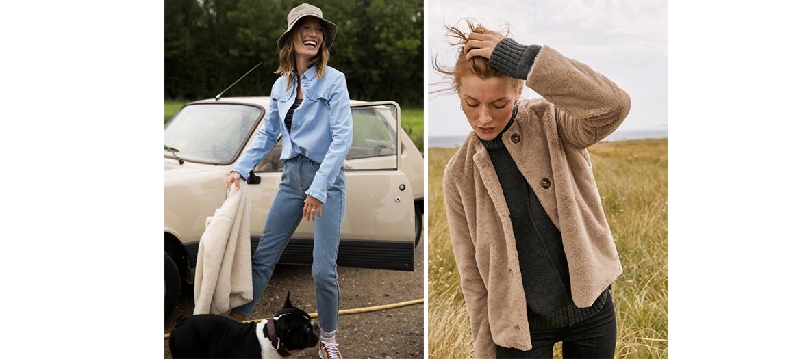 chemise blanche à plastron à 110 €, un jean délavé trop bien coupé à 95 €, un blouson doudou beige  à 230 € ou une robe irisée à ceinture à 180€