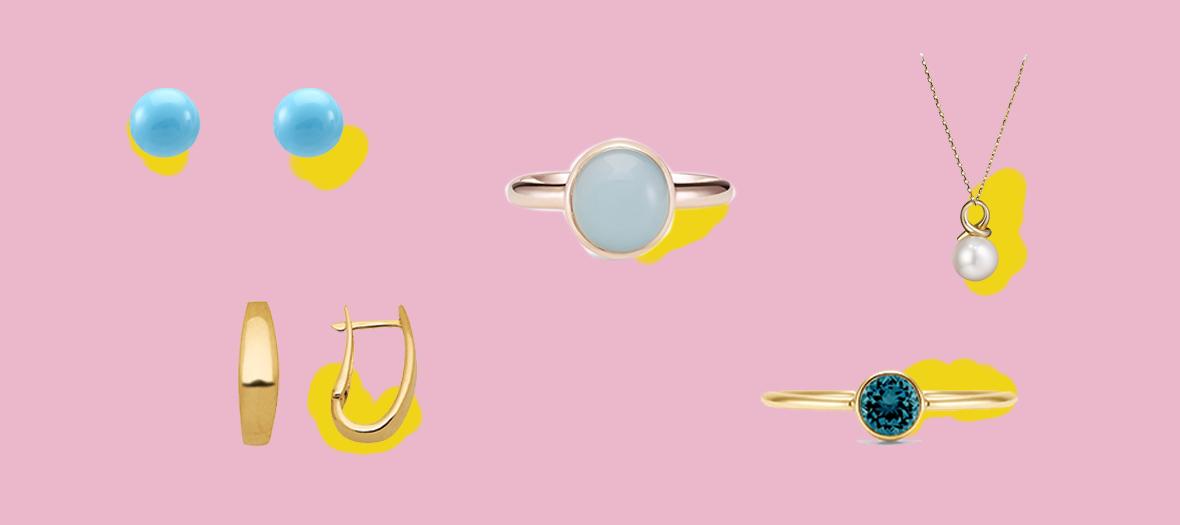 Bague en or, Boucles d'oreiles, pendantifs, Créoles oeil de chat