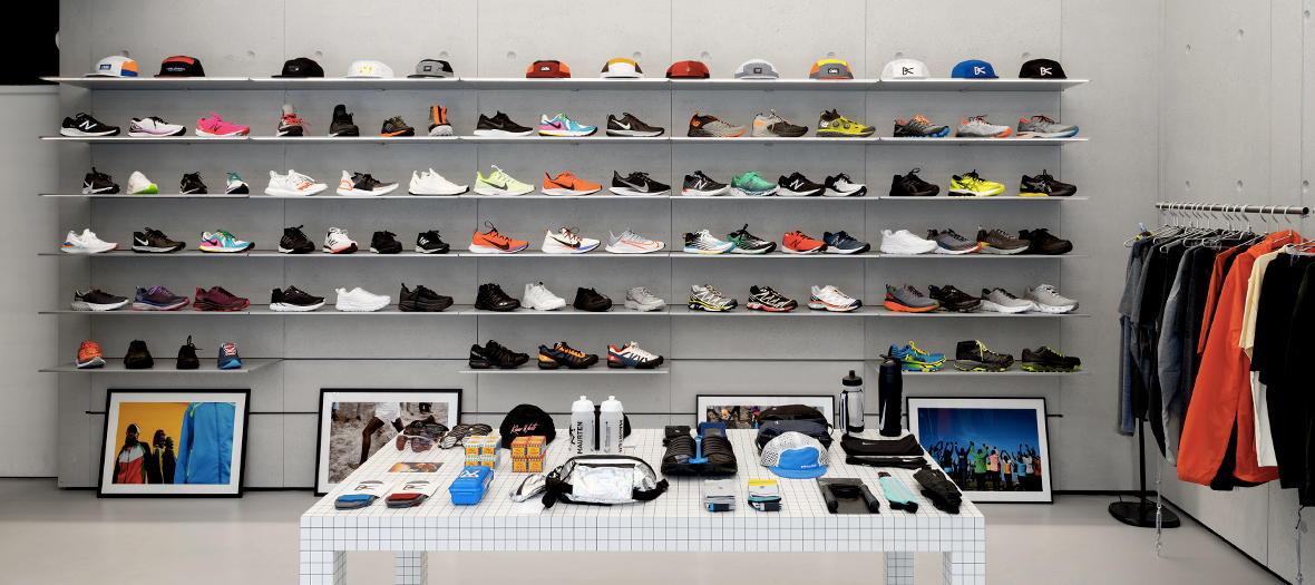 Sneakers and running equipment at Distance concept store in Paris