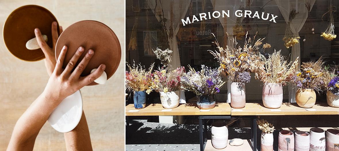 Les vaisselles et des pots de fleurs à la boutique-atelier de Marion Graux