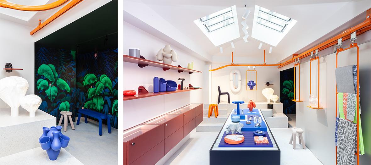 Ambiance intérieur de la Boutique de Décoration Moustache lancé  par Stéphane Arriubergé et Massimiliano Iorio avec la lampe Chantilly,  la chaise Bold, le vase Plan, le vase Heirloom 1