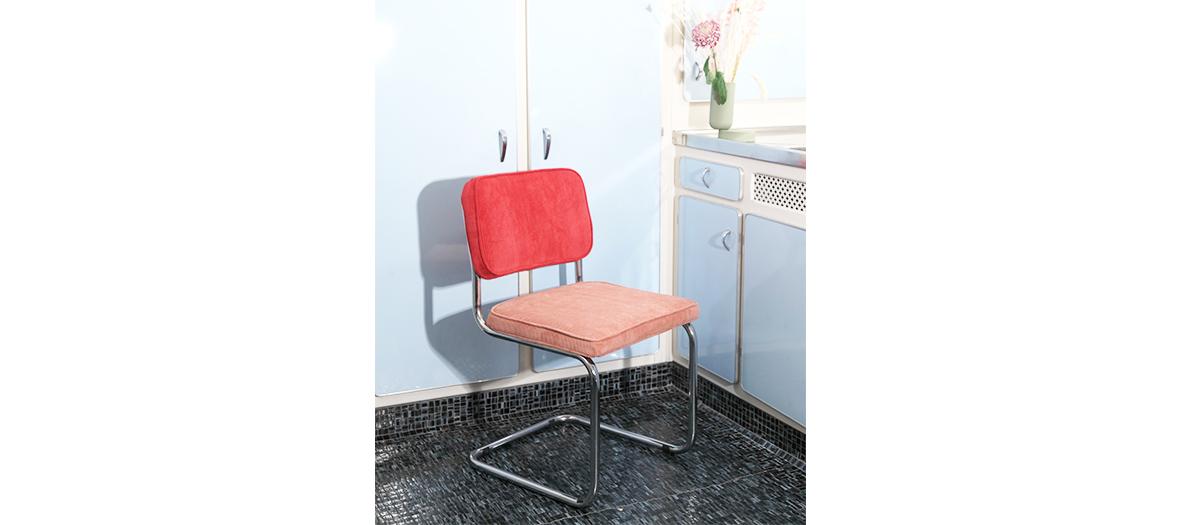 Chaise en cuir végan et velours par Marcel Breuer