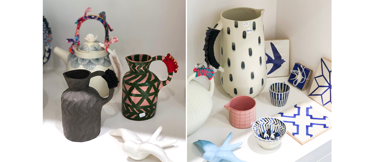 Teapots and pitchers which she customises with pieces of fabric and pearls on the handles from the portuguese swedish ceramics artisan Anna Westerlund
