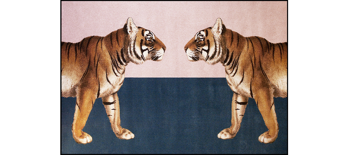 tapis tissés en fils de soie artificielle au motifs d'animaux exotiques du studio Schoenstaub
