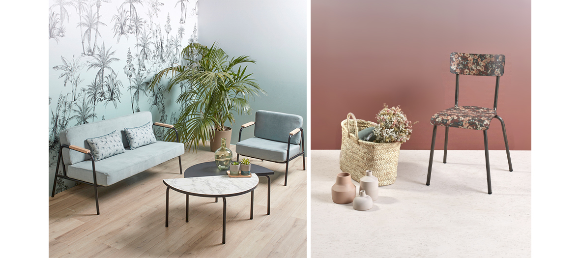 Chaises sur talons hauts, mobilier imprimés rétro et papiers peints imprimés fleurs d'automne