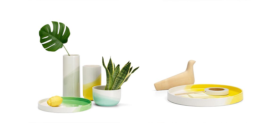 Vaisselle Herringbone Vessels, vases en céramique, bol couleur menthe de Vitra et Raw Edges