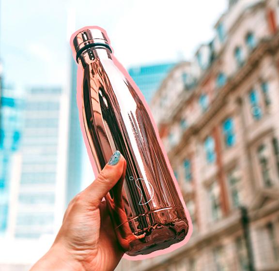 les gourdes Chilly's Bottle en laiton or rosé et isotherme