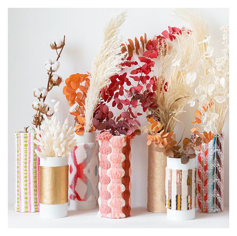 Las vases en porcelaine, tradi chics, et les tissages fantaisie de chez Singulier Origine