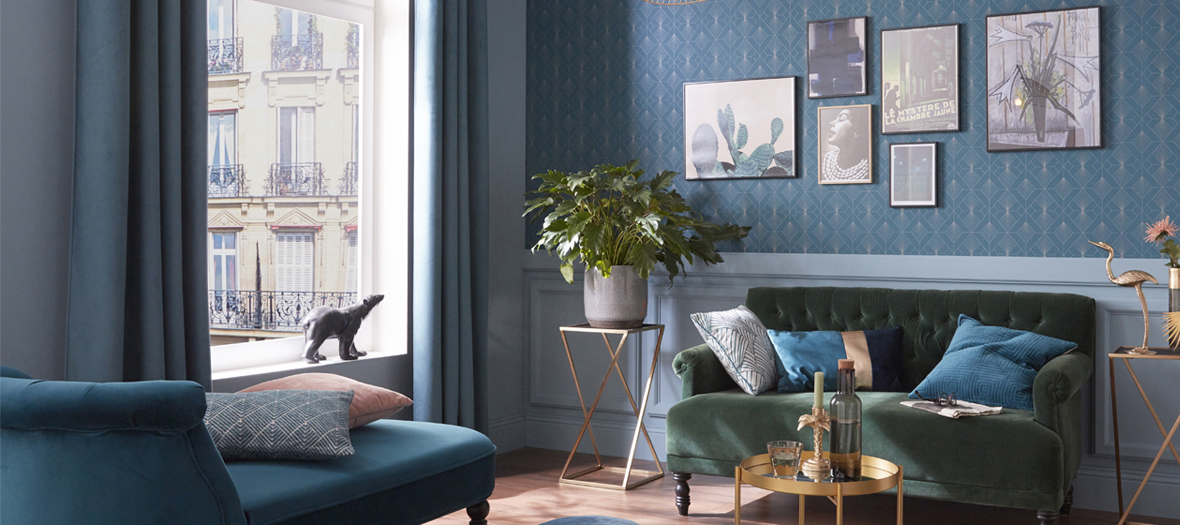 Decorative trends Leroy Merlin noel 2019 with copper brass, beautiful blue velvet, powdery lights and natural materials