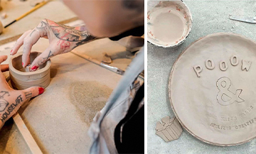 Les Mains Sales workshop with personalized ceramic bowls and plates