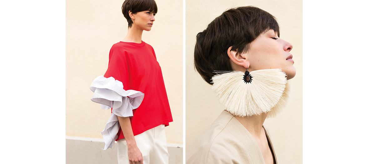 Earrings by Rachel Comey and top with loose sleeves at The Frankie Shop
