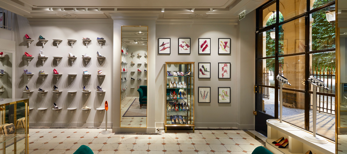 Decoration of the Manolo Blahnik shoe store in Paris