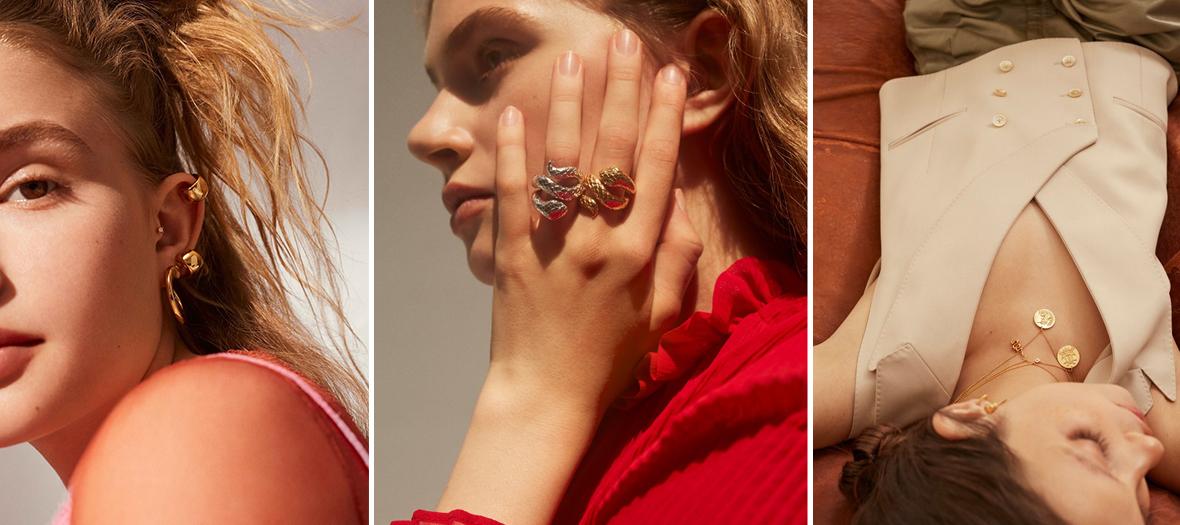 Les bijoux d'oreillex, boucles et puces de piercings, colliers, manchettes serpent, médailles, bagues et sautoirs en or, diamants et pierres précieuses