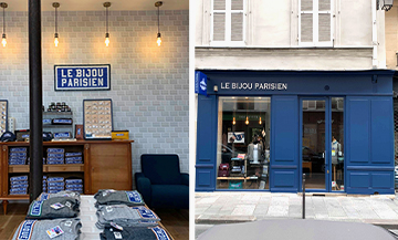 Interior decoration and facade of the shop of Aurélien Pfeifer and Philippe Madar in the Marais