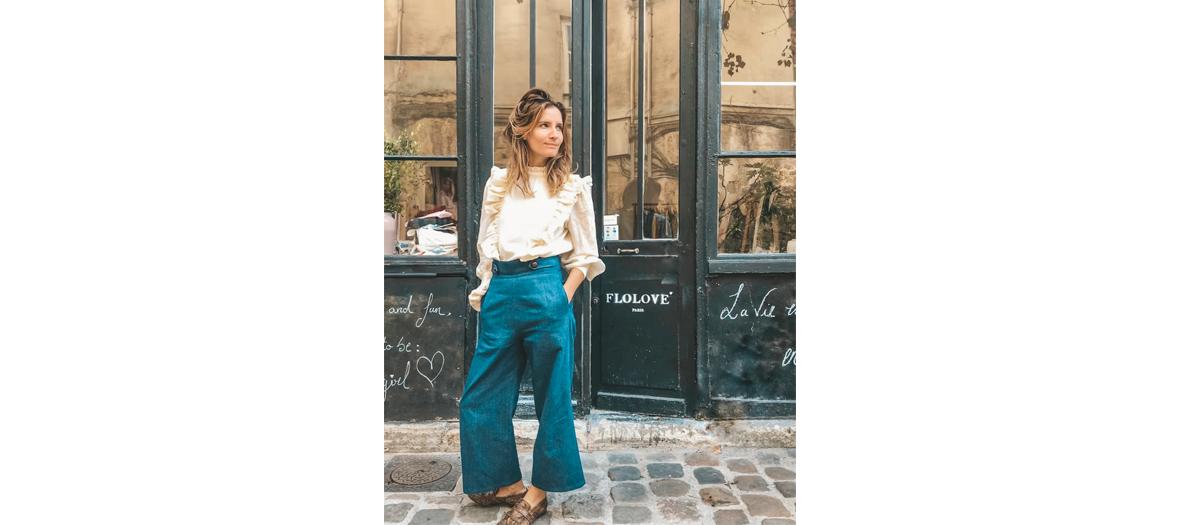 Florence Rouchon fondatrice de la marque devant la boutique Flolove