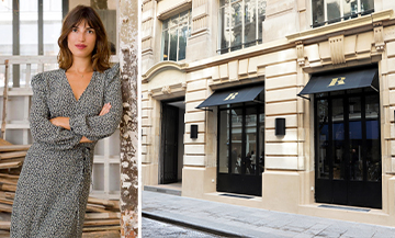 Portrait of Jeanne Damas and the exterior facade of the Rouje shop