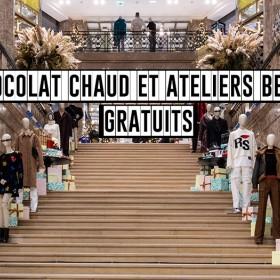 Décoration des Galleries Lafayette des Champs Elysees avec des sapins et des cadeaux pour Noel 2019