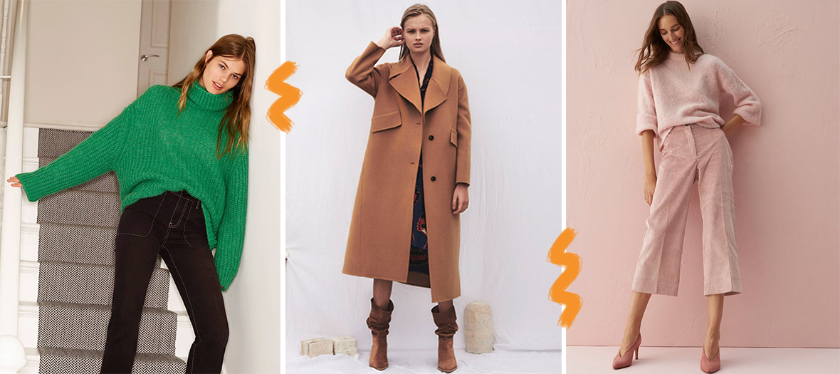 Pull vert col roule en laine, trench marron et pantalon rose en velours