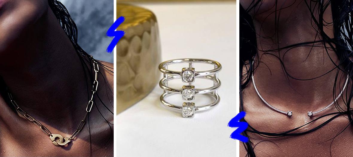 Collier menottes, bague trois diamants, et collier avec deux diamants