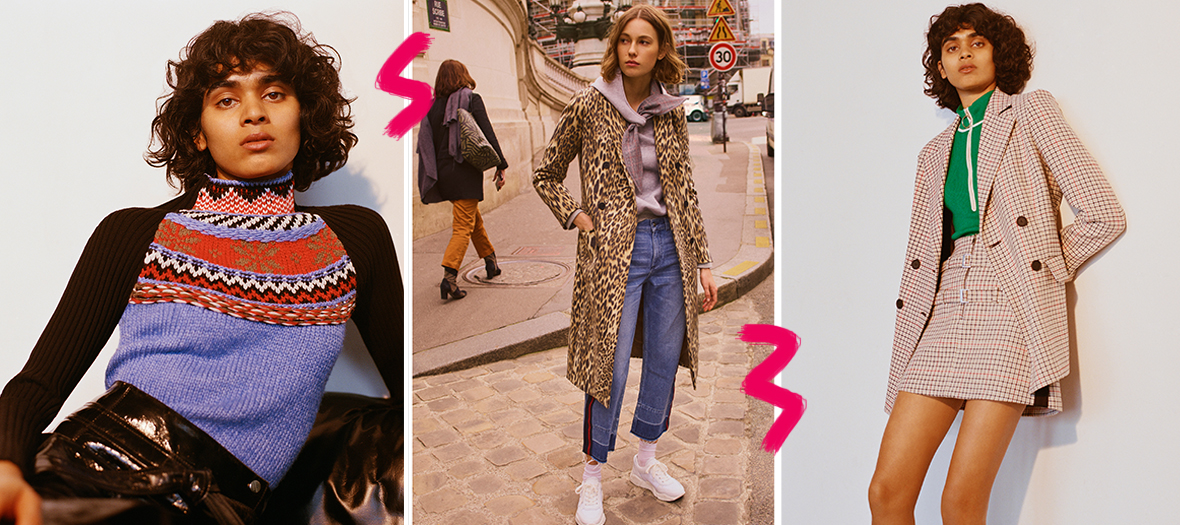 Pull col roule, manteau imprime leopard et jupe et veste petits carreaux
