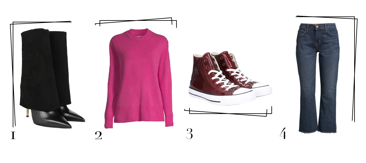 Best Secret selection with Balmain Botties, cashemere pullover, a pair of burgundy patent leather converse and a pair of jeans