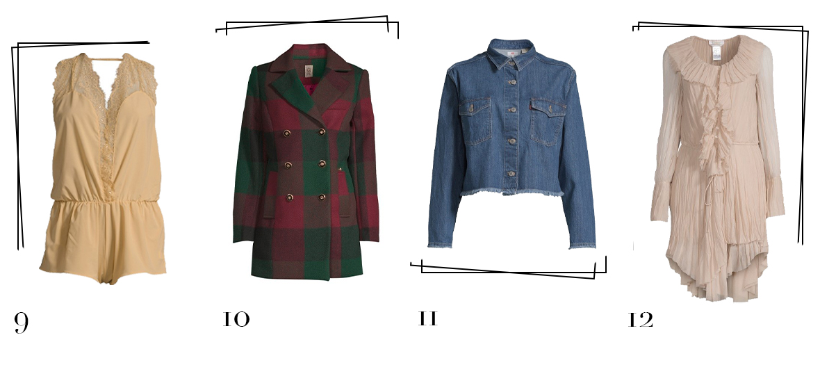 Best secret selection with a one-piece lingerie body suit, a tartan blazer-coat, a a Levi's denim jacket and a silk dress