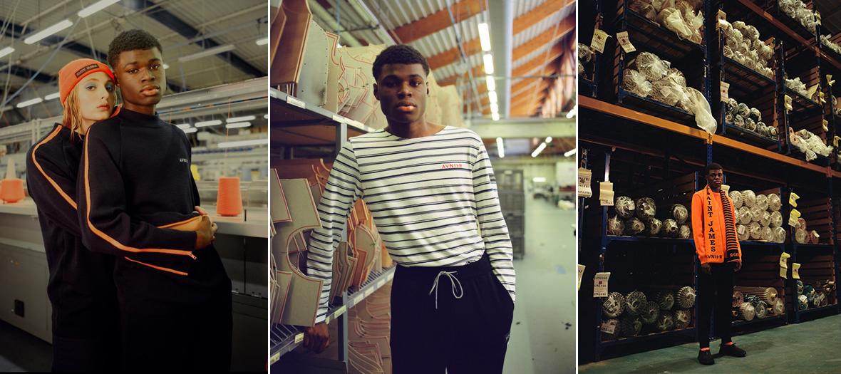 Pulls en laine noirs, oranges et à rayures, Marinières en coton, Bonnets, chaussettes et écharpes de Saint James et Avnier