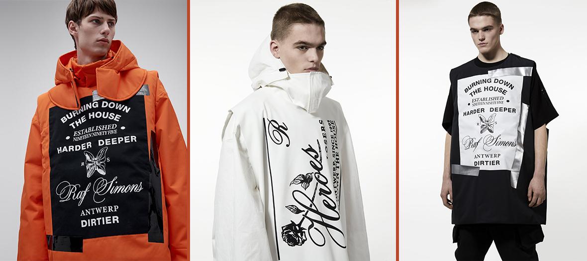 Tenues de ski colorées, manteaux, vareuses, pantalons matelassés, gants, gilets techniques et t-shirts chez Calvin Klein, Raf Simons à partir de 392 €