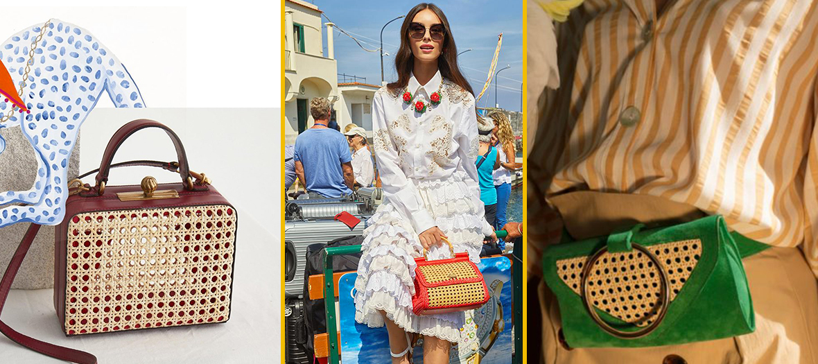 Mini sac en cannage Mehry Mu, sac à main en cannage Dolce & Gabbana et sac banane vert en cannage