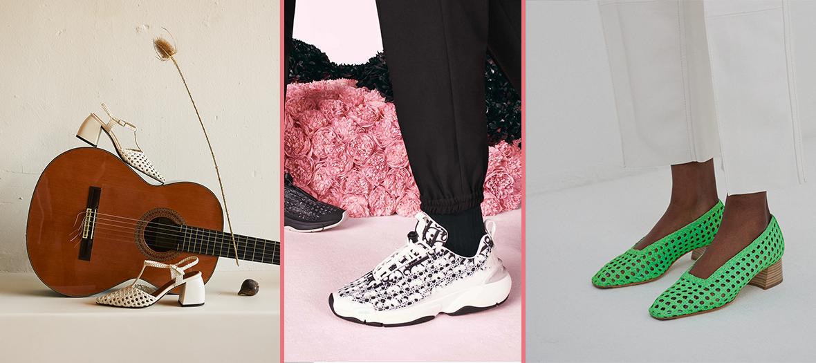 Escarpins en cuir tressés Souliers Martinez, sneaker cannage blanche Dior et chaussures vertes à talons en cannage Miista
