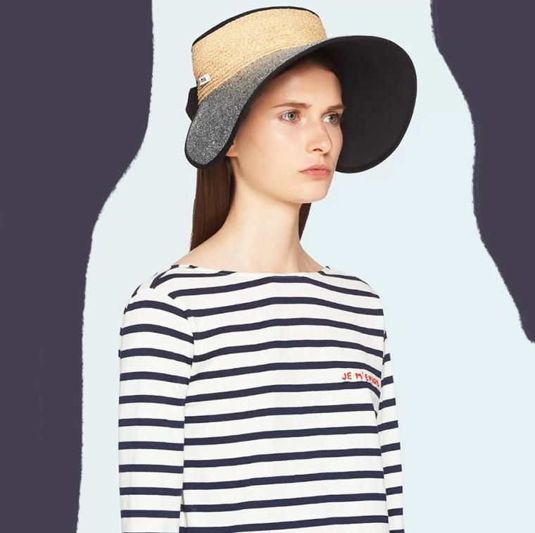 Chapeau-casquette en paille à paillettes