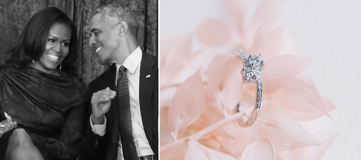Portrait of Michelle and Barack Obama with the Authenticity and Natural Ring